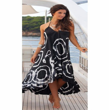 Summer Dress V-neck sleeveless Geometry Boho cotton Maxi Long Evening Party Beach Dresses one pieces