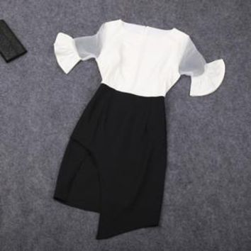 White and Black Dress with Illusion Sleeves
