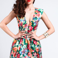 FLORAL PLUNGE CUT OUT DRESS