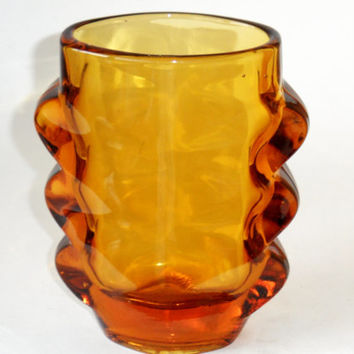 Golden Amber Vase, 1970s Czech Modernist Glass by Sklo Union - vintage retro modern design