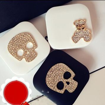 LIUSVENTINA DIY alloy Diamond SKULL and bear contact lens case for eyes contact lenses box for glasses