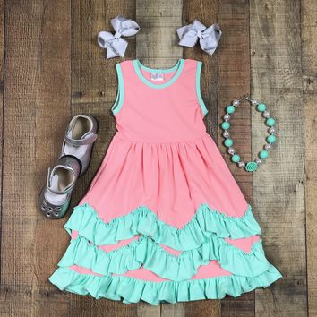 RTS Girls Coral And Aqua Ruffle Maxi Dress