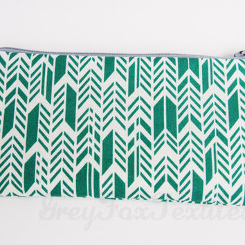 Turquoise chevron / feather / herringbone print pencil case / cosmetic case / zipper pouch/ organizer
