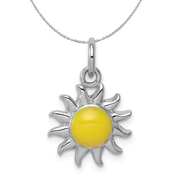 Sterling Silver Enameled 13mm Yellow Sun Charm Necklace