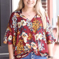 Burgundy Fall Florals Draped Blouse {S-3XL}