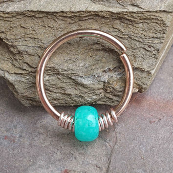 16g 18g or 20 Gauge Rose Gold Beaded Teal Nose Hoop Ring or Cartilage Hoop Earring