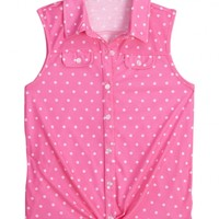Sleeveless Polka Dot Knit Shirt | Girls Clearance Features | Shop Justice