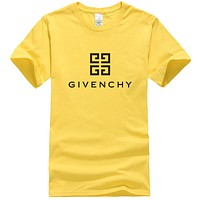 GIVENCHY Trending Men Women Leisure Print Round Collar T-Shirt Top Yellow