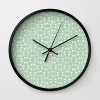 Sage Green White Petals  Wall Clock by KCavender Designs