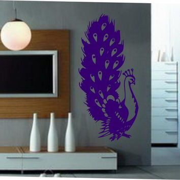 Peacock Decal Sticker Bird Birds of Paradise Pretty Cute Exotic Animal Feather Wall