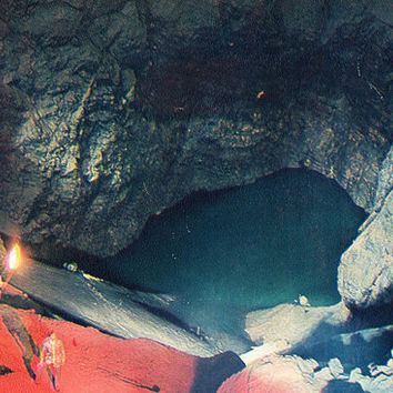 The Lake in the Hall «Abkhazia» (New Athos Cave) Vintage Photo Postcard - Printed in the USSR, «Tourist», Moscow, 1983