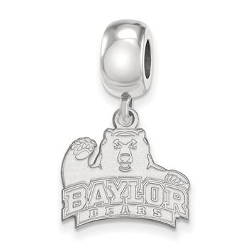 NCAA Sterling Silver Baylor University Small Bear Dangle Bead Charm