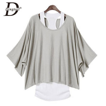 Dingtoll Europe Street T shirt Batwing Sleeve 4 Colors 5 Size Tops 2Pcs Tank + T-shirt