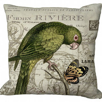 Green Parrot and Butterfly Pillow Cover