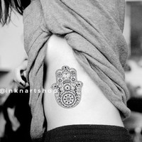 Large boho fatima hamsa Hand Pattern Tattoo - InknArt Temporary Tattoo - pack tattoo quote wrist ankle body sticker anchor fake tattoo Copy