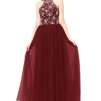 AiYANA Women's Long Tulle Prom Dress Halter Evening Gown Beaded Party Dress