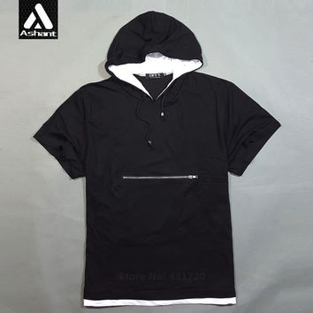 2016 New Men Clothes Plus King Size Hooded T shirt Summer Male 4XL 5XL 6XL 8XL T-shirts Solid Color Zipper Tee