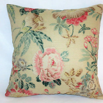"Beige Pink Teal Floral Pillow, 17"" Square Cotton, Yellow Green Brown, Vintage Look Flowers, Zipper Cover Only or Insert Incl, Ready to Ship"