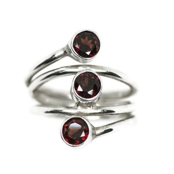 Sterling Silver 3 Stone Genuine Garnet Wrap Around Ring
