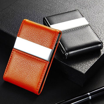 High Quality Stainless Steel Faux Leather Case Box Business Card Holder Pocket ID Credit Card Holder Case Cover