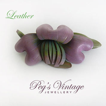 Large Vintage Purple Leather Flower Brooch/Pin, Lily/Iris Flower Leather Jewelry