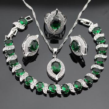 WPAITKYS Silver Color Jewelry Sets For Women Green Stones White CZ Earrings Bracelet Rings Necklace Pendant Free Gift Box