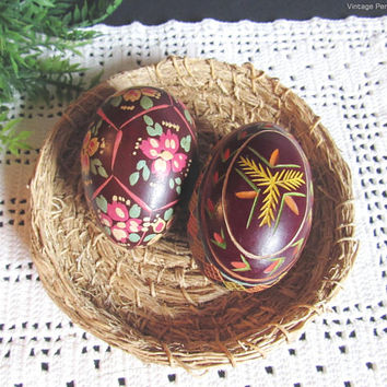 Vintage Handmade Wood Eggs, Folk Art, Hand Tole Painted, Carved Eggs