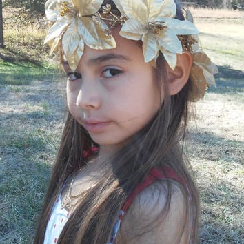 Golden Flower Crown, Flower Headband,Gold, Big Flower, bridesmaid, new year, head piece, wreath, Headband, golden flower, renaissance,
