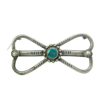 Early Navajo Turquoise Brooch. Green Turquoise, Drawn Sterling Silver. Hand Stamped. Hand Signed EB. Vintage 1930s Native American Jewelry