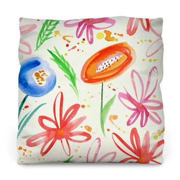 Painted Flowers Outdoor Throw Pillow