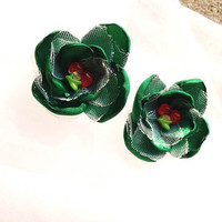 Mini 3d Green Cherry Fabric Flower Appliques
