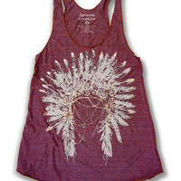 Indian Head Dress print Tri-Blend American Apparel TankTop