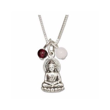 """Sterling Silver 18"""" Sitting Buddha Pendant Necklace with Garnet and Rose Quartz Beads"""