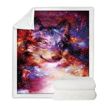 Galaxy Wolf Boho Throw Blanket