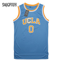 SAJGFIUH Mens Russell Westbrook #0 UCLA Bruins Blue Stitched Basketball Jersey