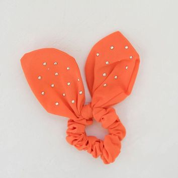 Knotted Bow Scrunchie - Orange