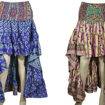 Womens 2pc Hi Low Skirt Recycled Vintage Sari Gypsy Fashion Long Ruffle Flirty Flare Summer Skirts S/M