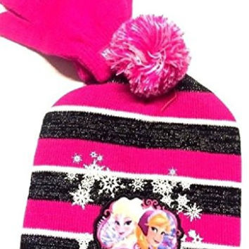 Disney Frozen Girls Knit Set: Beanie & Gloves, OSFM, Red/Black