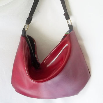 Cherry red Faux Leather Hobo  Animal Friendly leather by ACAmour
