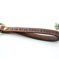 Personalized custom keychain, leather keychain, key fob, personalized message