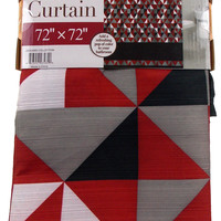 Triangle Shapes Shower Curtain Water Repellent Fabric 72x72 Gray Red White Black