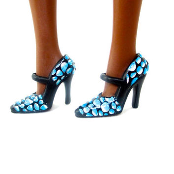 Barbie Doll Shoes - Rain Drop Blue Design on Black Fashion Heels for Barbie Doll