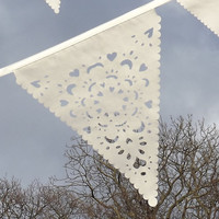 Cream vintage lace bunting, vintage wedding party garland, wedding photo prop, uk
