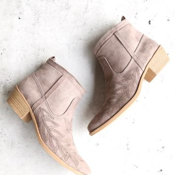 embroidered desert ankle booties in taupe