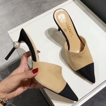 Chanel Popular Women Color Matching Pearl Heel Pointed High-Heeled Sandals Shoes Apricot I-ALS-XZ