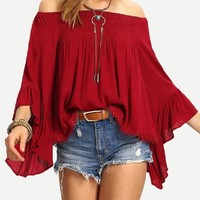 Berry Red Off the Shoulder Blouse