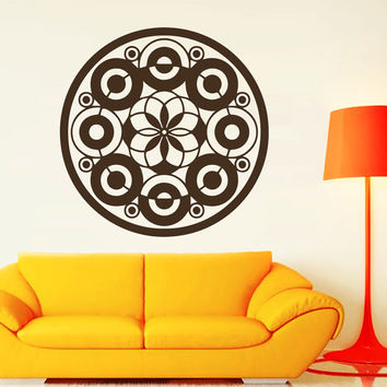 Flower Wall Decals Mandala Circles Om Yoga Pattern Oum Sign Living Room Interior Vinyl Decal Sticker Art Mural Bedroom Kids Room Decor MR373