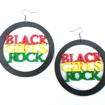 Large BLACK GIRLS ROCK! dangle wood rasta colors earrings