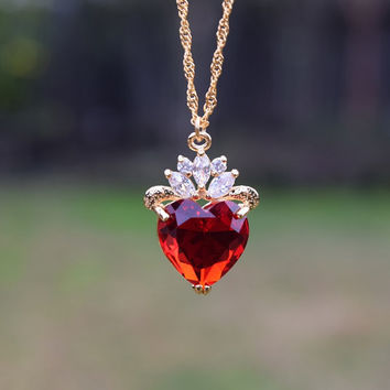 Evie Red Heart Necklace, Evie Luxe Gold Necklace, Descendants Necklace, Queen of Hearts, Heart Jewelry, Disney Fan, Ruby Red Heart Jewelry