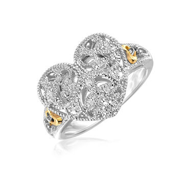 Designer Sterling Silver and 14K Yellow Gold Filigree Heart Ring with Diamonds